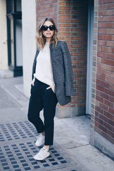 boyfriend blazer, adidas stan smith, street style