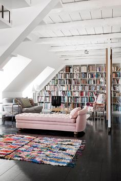 I love me some lofts Loft Interior, Home Interior Design, Danish Interior, Home Library Design, Library Ideas, Library In Home, Modern Library, Interior Modern, Luxury Interior