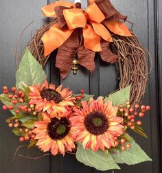 Bronzed Sunflower Wreath  Grapevine Door by SeasonsAtRosehill, $57.99