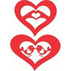 Silhouette Design Store - View Design #72909: love hearts set 4