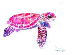Arte de la tortuga rosa púrpura brillante 16 X 12 por ORIGINALONLY