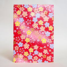 Japanese Yuzen Washi Card Holder - Outlined Cherry Blossom Red Gradation Japanese Minimalism, Oyster Card, Travel Cards, Japanese Patterns, Unique Cards, Japanese Culture, Card Holders, Pattern Paper, Red Gold