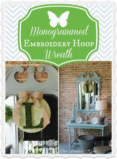 Embroidery hoop monogram wreath-Our Southern Home