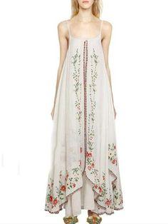Color Emboridered Spaghetti-neck Bohemia Dress Scarlett a62528f1c54f