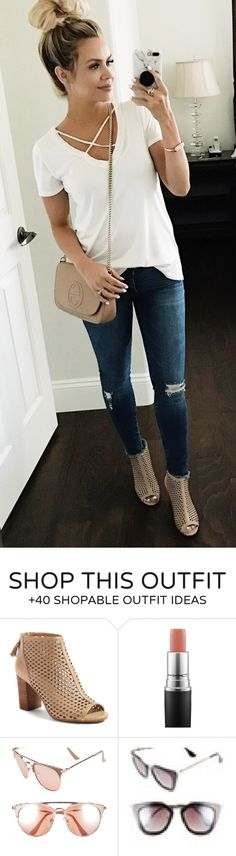 #spring #fashion White Top & Ripped Skinny Jeans & Beige Leather Shoulder Bag