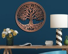 Tree of Life Hanging Metallic Wall Art por RedTailCrafters en Etsy
