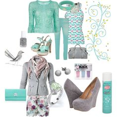 Florals: grey: aqua, created by caladenia on Polyvore