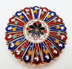 ANTIQUE MULTI-COLORED SPOKED ENAMEL STUD BUTTON  What a charmer, for a gentleman's vest possibly?