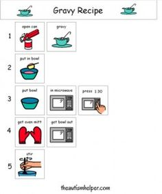 Visual Recipe for Gravy! by theautismhelper.com