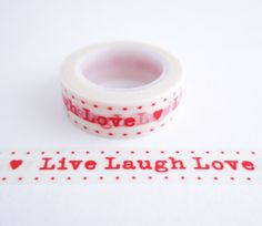 Single roll of washi masking tape with live laugh love pattern. Great for travel journals, scrapbooking, gift wrapping, schedules, planners, journals, decorating cards and envelopes and more! Add a li