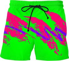 43429ee94f Watermelon Paper Cup Swim Shorts by BigTexFunkadelic #BigTexFunkadelic # swimwear #shorts #neon #. RageOn! - World's Largest All-Over-Print ...
