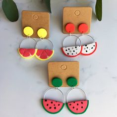 The Sweetlee Polymer Clay Hoop Stud Earrings. medium sized hoops with stud backs. Polymer Clay Ornaments, Polymer Clay Christmas, Polymer Clay Flowers, Polymer Clay Crafts, Handmade Polymer Clay, Polymer Clay Kawaii, Diy Clay Earrings, Polymer Clay Necklace, Polymer Clay Pendant