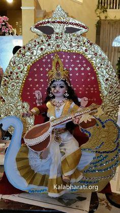 Saraswati on swan Saraswati Statue, Saraswati Goddess, Kali Goddess, Mother Kali, Divine Mother, Gauri Decoration, Hindu Worship, Lord Rama Images, Housewarming Decorations