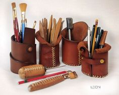 I'm taking a brake from my leather projects, I'm doing those things. By Leon Litinsky Leather Carving, Leather Art, Sewing Leather, Leather Pattern, Leather Gifts, Custom Leather, Leather Jewelry, Leather Diy Crafts, Leather Craft Tools