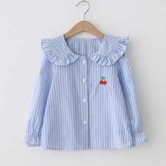 e450950fb1fa5 Pretty Strawberry Embroidery Striped Long-sleeve Shirt for Girl
