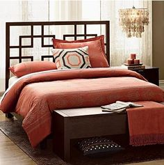 Dark brown bed and orange-red sheets - Home Decor Warm Bedroom, Master Bedroom, Bedroom Decor, Bedroom Ideas, Bedroom Small, Bedroom Inspiration, Red Sheets, Bed Bench, Bedroom Benches