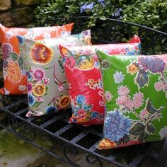 oil cloth pillows. I'll make these for your new place mom, just remind me. @Kristi Akers-Rambo
