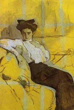 Valentin Serov (Russian-born painter, 1865-1911) Portrait of Henrietta Girshman c 1906