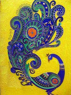 Wood Mural Painting by Ariya Nair Peacock Colors, Peacock Art, Peacock Tattoo, Mural Painting, Fabric Painting, Paintings, Madhubani Art, Indian Folk Art, Madhubani Painting