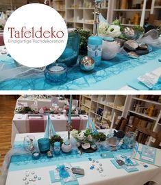 Tischdeko Beispiel zur Kommunion, Konfirmation in Türkis - Puzzleteile als Streudeko kombiniert mit Edelstahl Kugeln und Accessoires aus Silber lassen diese Tischdeko verspielt und edel zugleich wirken.