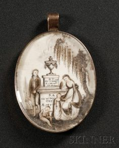 Mourning miniature on ivory showing a whole family. Inscriptions show that both an infant and an elderly person are being commemorated.