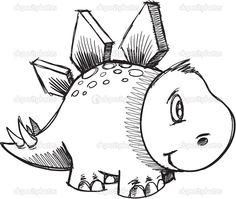 Стегозавра динозавров эскиз каракули вектор - Стоковая иллюстрация: 11082040