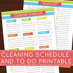 Cleaning Schedule / To Do List Rainbow Printable Insert for Arc and Erin Condren Planner DIY Editable PDF