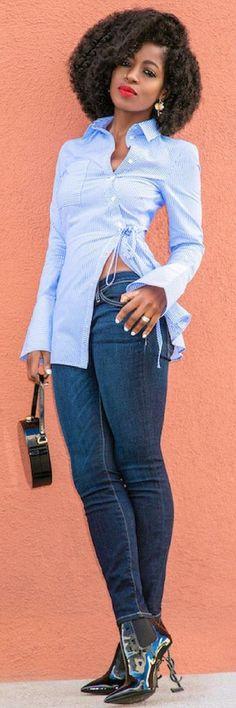 Shop The Look: Top: Available here Fashion Line, Denim Fashion, Girl Fashion, Womens Fashion, Classy Outfits, Chic Outfits, Fashion Outfits, Creation Couture, Petite Tops