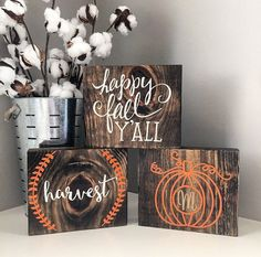 Christmas DIY: Fall wood block set Fall wood block set Fall rustic signs by CoastalCraftyMama on Etsy Fall Crafts, Holiday Crafts, Diy Crafts, Wooden Crafts, Holiday Decor, Holiday Ideas, Christmas Diy, Rustic Signs, Wooden Signs