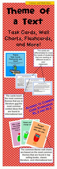 (THEME OF A TEXT) Task cards, wall charts, flashcards, and more.  These task cards are aligned to Common Core Standards RL.2 and RI.2.  These review the most common themes in literature and the most common central ideas in informational texts.