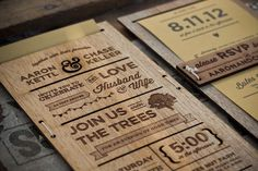 Laser cut engraved wedding invitations on wood veneer.   We're going to do something similar but affix info card to back of invitation with some sort of spray adhesive. (Far less work.)