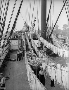The sailing Ship 'Peking', now renamed 'Arethusa' at berth at Upnor near Rochester on the River Medway. Sailor boys spring-clean in readiness for the visit of Prince George. Peking, Merchant Navy, Gillingham, Old Port, Seafarer, Wooden Boats, Tall Ships, Sailing Ships, Sailor
