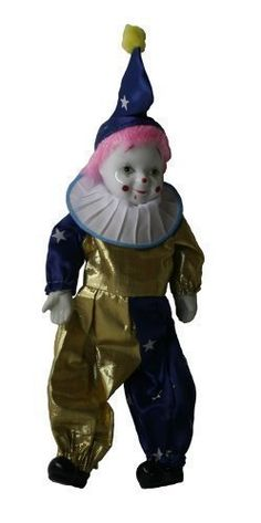 Clown Porcelain Doll 7 Inches with Flag Day Cloth Pink Porcelain Dolls Value, Porcelain Dolls For Sale, Garden Sculpture, Flag, Ceramics, Clothes, China Dinnerware, White Porcelain, Animal