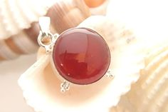 LOVELY CUTE SMALL CARNELIAN FOR TEEN SILVER FASHION JEWELRY NECKLACE-PENDANT 211 #925silverpalace #Pendant