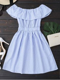 Girly outfits - Striped Off Shoulder Short Sleeves Elastic Slash Midi Dress Ruffles Autumn Dress 2018 Women Casual Party Beach Dresses blue XL – Girly outfits Teen Fashion Outfits, Girly Outfits, Cute Casual Outfits, Dress Outfits, Girl Fashion, Fashion Dresses, Trendy Fashion, Feminine Fashion, Fashion Styles