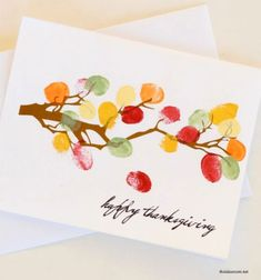 DIY Thanksgiving thumbprint fall leaf keepsake card // Faleveles emlék képeslap ujjlenyomatokból // Mindy - craft tutorial collection // #crafts #DIY #craftTutorial #tutorial #PaperCrafts #KreatívÖtletekPapírból