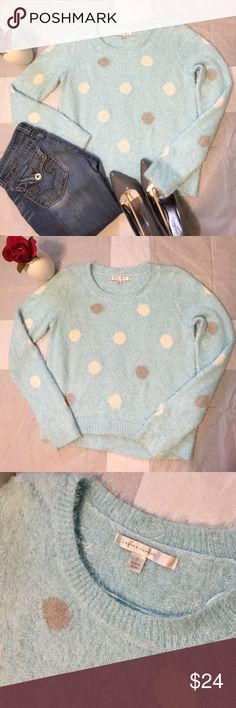 Lauren Conrad Insanely Soft Polka Dots Sweater-SML Lauren Conrad Insanely Soft Polka Dots Sweater-Size Small. Powder/Baby Blue with white and gray polka dots. Softest sweater I've ever felt in my life! Reminds me of those aloe infused spa socks. This sweater is gorgeous in person and can be worn for the fall and winter months! 56% Nylon, 38% Acrylic, 6% Cotton. Worn twice, in excellent used condition. Fast Shipping! Smoke Free Home! Open to offers on my items or 15% off bundles! Top 10%…