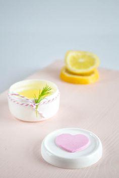 Homemade lemon hand lotion / heart packaging / Valentine's day / Passion shake blog