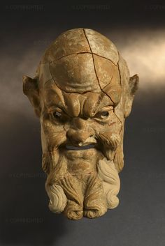 """Satyr mask, Mid-3rd century BC, Terracotta, height 21.2 cm, width 11.5 cm, Syracuse, Museo Archeologico Regionale """"Paolo Orsi"""" Human Sculpture, Sculptures, Lion Sculpture, Rome Art, Shadow Face, Greek And Roman Mythology, Glitch Art, Greek Art, Ancient Greece"""