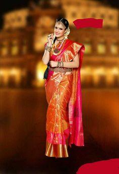 Kanchipuram Bridel weare silks sarees at Kanjivaram Sarees, Kanchipuram Saree, Silk Sarees, Women Wear, Sari, Fashion Outfits, Bridal Sarees, How To Wear, Style