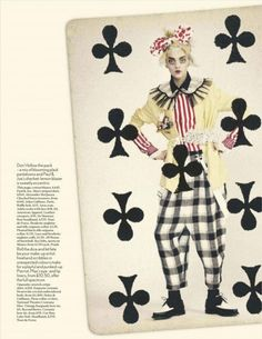 "For one of the finer mixed media fashion editorials we have seen to date, fresh face Magda Laguinge does her best ""Jokers Wild"" for Vogue UK this past April 2012.  As photographed by Paolo Roversi and styled by Lucinda Chambers, Magda wears Viktor & Rolf, Ann Demeulemeester, Alexander McQueen, and others."