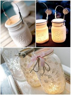 vintage mason jars with lace