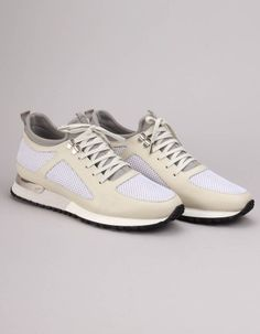 The cream and white mesh diver trainers from Mallet have lace up fronts and include grey neoprene socks, silver metal top eyelets and a metal D ring to the back of the sole. Grey Stone, Pocket Square, Gentleman, Trainers, Footwear, Lace Up, Parfait, Metal, Sneakers