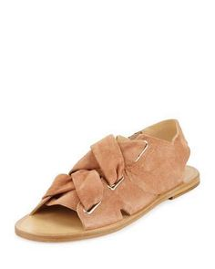 Rag & Bone Elda Suede Lace-Up Flat Sandal, Macaroon
