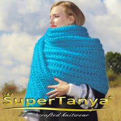 Extra long hand knitted mohair scarf aqua blue fuzzy by supertanya