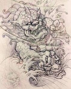 Foodog sketch asian art tattoo - Tattoos And Body Art Japanese Tattoo Designs, Japanese Tattoo Art, Japanese Sleeve Tattoos, Japanese Art, Neue Tattoos, Body Art Tattoos, Hand Tattoos, Tattoo Sketches, Tattoo Drawings