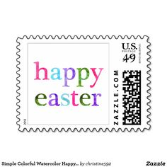 Simple Colorful Watercolor Happy Easter Postage Stamp
