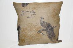 Decorative Burlap Peacock Fall  Pillow Cover 12x16, 16x16, 18x18 #Burlap