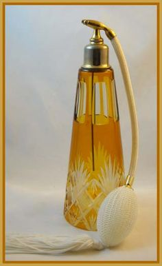 Vintage Amber Cut to Clear Perfume Bottle.