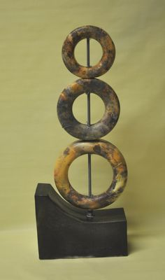 """Dawn Whitehand This #ceramic sculpture is entitled """"Earthly Delights"""", and features wheelthrown & slab built components, with metal rods and metal scourer. It was exhibited late last year at Gallery on Sturt and is still available for sale. $510.00"""